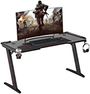 140cm RGB Gaming Desk, Wisfor Professional Gaming Table Gaming Workstation with Large Carbon Fiber Surface Cup