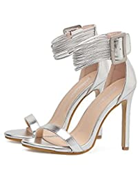 Women Pump 11cm Stiletto Open Toe D'orsay Ankel Strap Dress Shoes Wedding Shoes Simple Pure Color Belt Buckle Party Shoes Eu Size 34-40