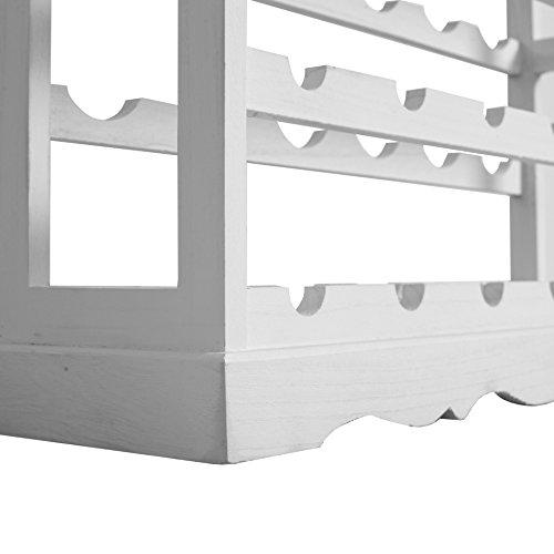 Rebecca Mobili Cantinetta Classica con 24 vani, Mobile portabottiglie Vino, Bianco, Salotto Cucina - Misure: 70 x 70 x 22 cm (HxLxP) - Art. RE4223 - 6