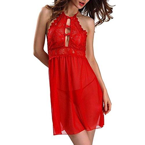 Beikoard Sexy Dessous, Frauen Sexy Spitze Dessous Nacht G String Kleid hohle Unterwäsche Wäsche (Rot, M)