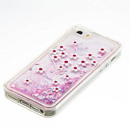 Roreikes Apple iphone SE 5 5S Coque,iphone SE 5 5S Case, étui souple transparent Cool 3D Flottant sables mouvants Étoile Bling Luxe Étincelle Design Cas Crystal Star douce couverture arrière shell cas 8#