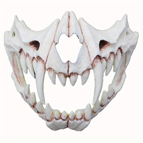 Puurbol Japan Weißer Schädel Tiger Maske Zahn Kostüm Cosplay Halloween Für Erwachsene und Kinder (Für Erwachsene Weiße Tiger Kostüm)