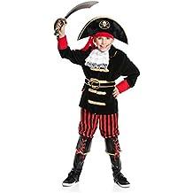 Kostümplanet® Piraten-Kostüm Kinder Deluxe Kostüm Pirat Jungen Kapitän Kinder-Kostüm mit Stiefel-Stulpen Größe 128 140 152 164
