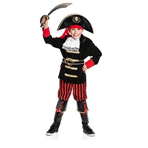 n-Kostüm für Jungen mit Kopftuch, Jabot und Stiefel-stulpen, Größe: 152, Farbe: rot-schwarz, Verkleidung für Karneval, Fasching, Kinder Pirat Kostüm (Jack Sparrow Kostüm Jungen)