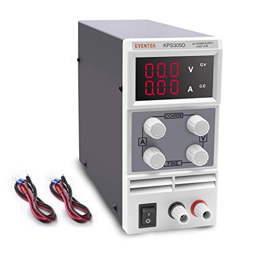 Eventek Labornetzgerät, 0-30V 0-5A DC Regelbar Netzgerät Stabilisiert Digitalanzeige Labornetzteil Netzteil Strommessgeräte
