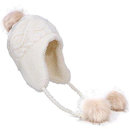 Kuyou Damen Winter Mütze Hut Ohrenschützer Trapper Warm Fellmütze, Weiß, Einheitsgröße