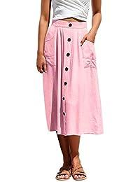 cc1d66a3ac04f8 Jolisson Damen Maxirock A-Linie Ausgestelltes Sommerrock mit Knopf Tasche  Elegant Faltenrock Hohe Taille Vintage