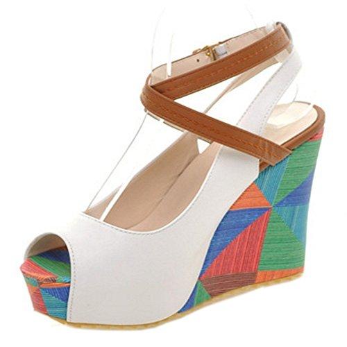 Taoffen Damen Impressão Cunhas Peep-toe Sandálias De Salto Plataforma Sapatos Slingback Weiss