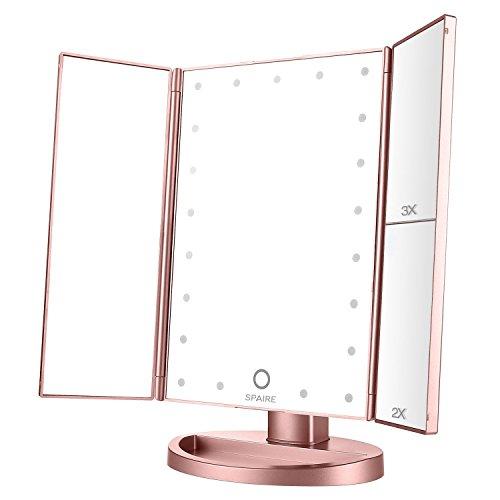 Spaire Miroir de Maquillage Triple, Miroir de Bureau Lumineux à LED de Magnification 1X / 2X / 3X Batterie et Charge USB Rotation de 180 Degrés Libre Réglable