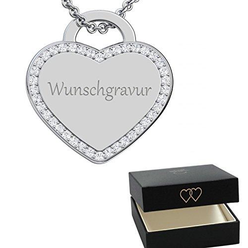 Kette mit Gravur Herz Silber 925  Gravur-Geschenke mit Gravur für Frauen Herzkette Wunsch-Gravur  Namensgravur gravierbar persönlich Namen Kinder Gravurplatte...