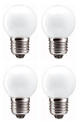 Mini Glühlampen in Golfballform, 60W, ES E27, Edisongewinde, dimmbar, 570Lumen, Netz 240V, matt, Weiß, 4er Pack -