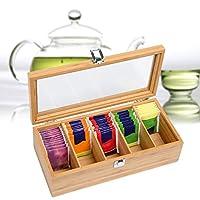 iBoosila Système Bamboo Sachet à thé Sachet à Purification d'air Couvercle magnétique Compartiments Boîte à thé