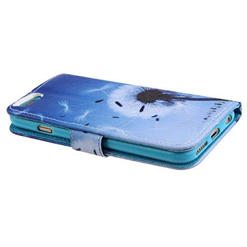Felfy - iPhone 6S Wallet Case,iPhone 6 Case,iPhone 6 Ledertasche Ultra Slim Flip Bookstyle Weiße tiger Style Ständer mit Kreditkarte Slots Magnetic Button PU Leder Etui Holster Schutzhülle Tasche + Ko Blau Weiß Dandelion Cas
