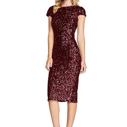 Zolimx Damen Sparkle Glitzy Glam Pailletten-Kurzarm Flapper Party Club Kleid Sparkle Petticoat