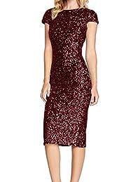 6a63b57aee5a55 Longra-Vestiti Con Paillettes da Donna Vestito Lungo Abito da Cerimonia  Elegante Vestiti da Matrimonio