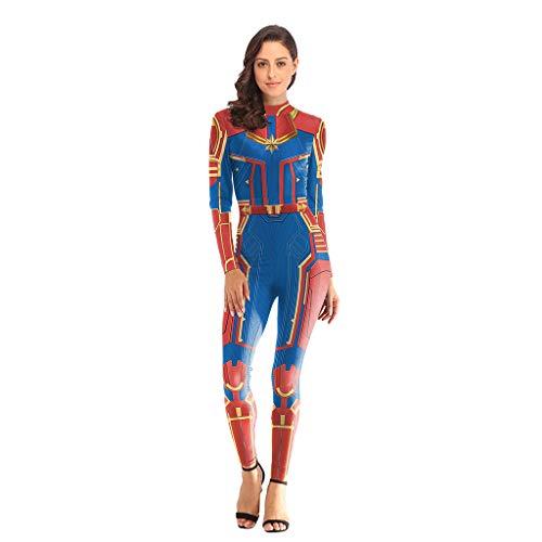 QWEASZER Avengers: Endgame Movie Captain Marvel Bodysuit Spandex Jumpsuits Captain Marvel Kostüm Damen Weihnachten Halloween Show Cosplay Kostüm,Red-S