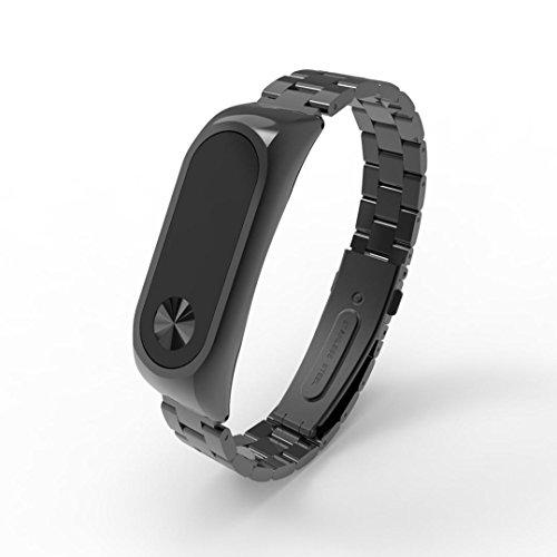 Correa de repuesto para XIAOMI miband2elegante, Y56, fino de lujo acero inoxidable impermeable inteligente Reloj de pulsera correa para Xiaomi Mi Band 2., negro