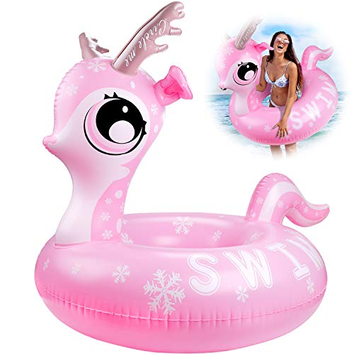 Emooqi Schwimmring, Aufblasbare Pool Float Aufblasbarer Schwimmring ,Swimming Lifebuoy für Erwachsene & Kinder, Size:116cm* 110cm*42cm,Aufblasbar Tier Luftmatratze Outdoor Pool for Two Person Play