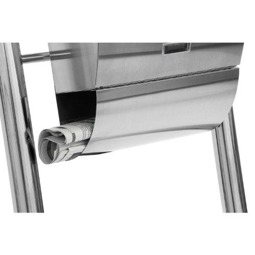 Hochwertiger V2A Edelstahl Standbriefkasten mit Zeitungsfach, 126 cm hoch, Gewicht 7 kg - 7