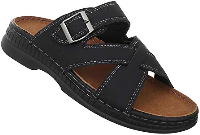 Herren Schuhe Sandalen Pantoletten Strandschuhe BadelatschenSandalen Pantoletten Strandschuhe Badelatschen Schwarz Billig und erschwinglich Im Verkauf