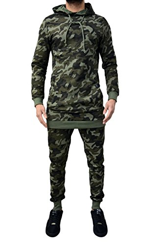 Mens Designer Tracksuit Camouflage & Various New Colours Skinny Slim Joggers Pants Bottoms & Hooded Longline/Short Style Sweatshirt Hoody Sweat Top Cotton Camo
