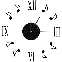 Fdit Socialme-EU Relojes de Pared Etiqueta Nota Musical Notas de Música Números 3D Romanos