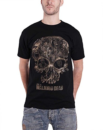 The Walking Dead T Shirt Walkers Skull Distressed Logo Official Mens Black
