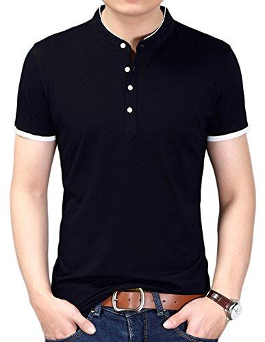 DD UP Herren Casual Slim Fit T-Shirt mit V-Ausschnitt Baumwolle Kurzarmshirt Schwarz