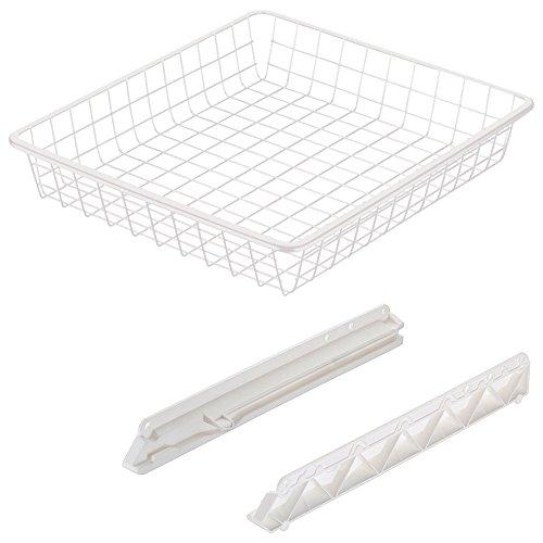 Gedotec Einhängeboden 600 mm Einhängekorb Küchen-Schränke mit Gleitschiene - H9965 | Drahtkorb für 60er Korpusbreite | Stahl weiß beschichtet | 1 Set