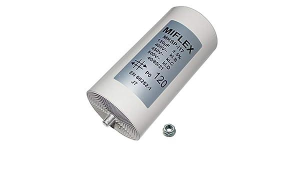 120uF AnlaufKondensator MotorKondensator 120µF 400V 60x119mm Stecker Miflex