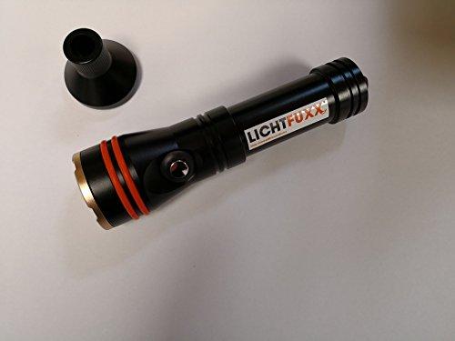 LICHTFUXX - LED-Taucherlampe / Tauchlampe (1200lm) mit Magnetschalter; hochwertig, robust; bis 100m Tiefe inkl. Zubehör