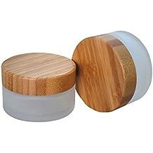 30G/tarro de cristal rellenable con bolsas y medio ambiente tapa de bambú, crema de cristal esmerilado botella Pot Tarros cosméticos COMTAINER