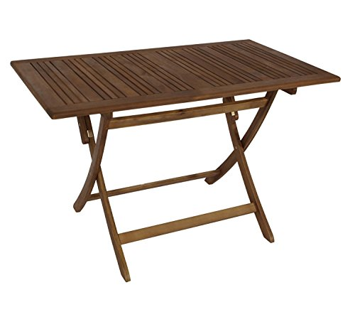 Tisch 120 x 70 x 74 Gartenmöbel Holztisch Akazie Holz Gartentisch Balkon Esstisch FSC geölt 22314