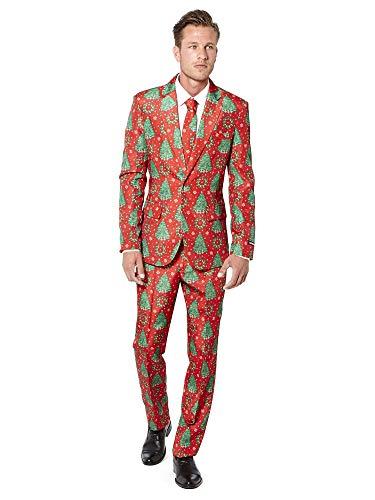 Suitmeister Trajes de Navidad - Christmas Trees - Incluyen Chaqueta, Pantalones y Corbata - EU46 / S