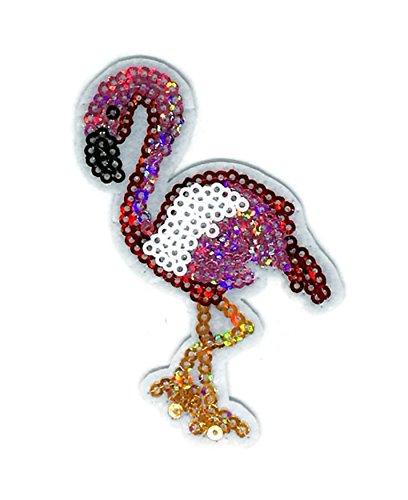 (Rosa Flamingo-Stickerei Sew Eisen auf Patch Cartoon Sew Iron on Embroidered Aufnäher Craft handgefertigt, Baby Kinder Mädchen Frauen Kleidung DIY Kostüm Zubehör)