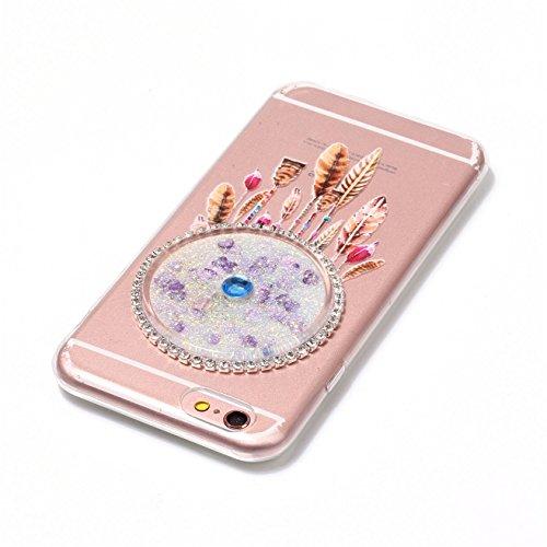 Custodia per Apple iphone 6,Custodia per Apple iphone 6S,Haikingmoon trasparente Sparkle Brillantini gel silicone protettiva Cover per Apple iPhone 6 / 6S (4,7 Pollice) - Viola Bianco