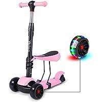 Yoleo 3-en-1 Trottinette Scooter Enfants avec Siège Amovible Roues à LED Hauteur Réglable 65cm à 77cm Cadeau Jouet Enfant de 2 Ans à 5ans