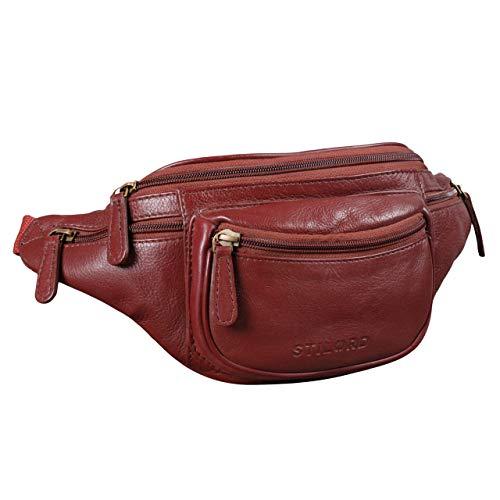 STILORD 'Eliah' Riñonera o Bolsa de Cuero Vintage Bolso de Cintura Cadera o cinturón para Hombre y Mujer para Deportes Running Fiestas Ocio o Aire Libre, Color:marrón - Rojo