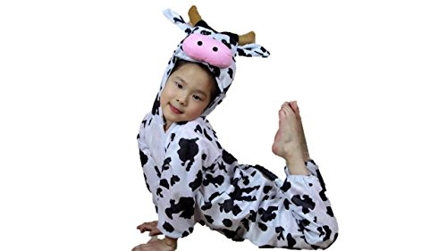 Kinder Tierkostüme Jungen Mädchen Unisex Kostüm Outfit Cosplay Kinder Strampelanzug (Kuh, XL (Für Kinder von 120 bis 140 cm))