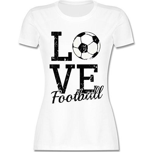 Fußball - Love Football - tailliertes Premium T-Shirt mit Rundhalsausschnitt für Damen Weiß