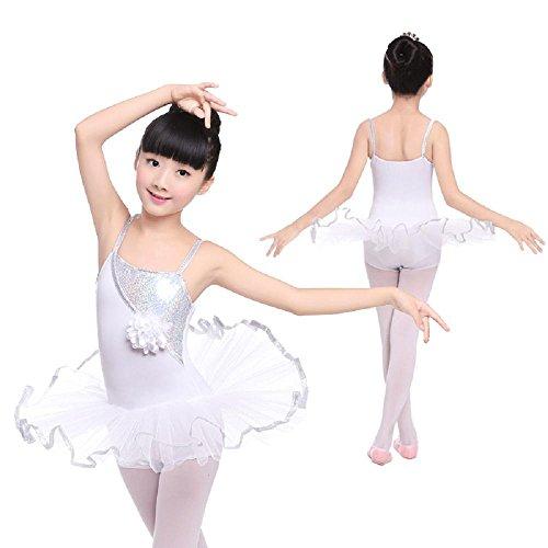 Kind Lateinischer Tanz Ballett Kleidung Mädchen Harness Siamesischer Rock Übungsdienst Prinzessin Garn Rock Performance-Bekleidung , white , 5xl (Hit Girl Kostüm Kleinkind)