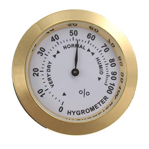 Scopri offerta per Igrometro analogico in ottone sigaro tabacco misuratore di umidità e lente in vetro per umidificatori misuratore di umidità per fumo - oro
