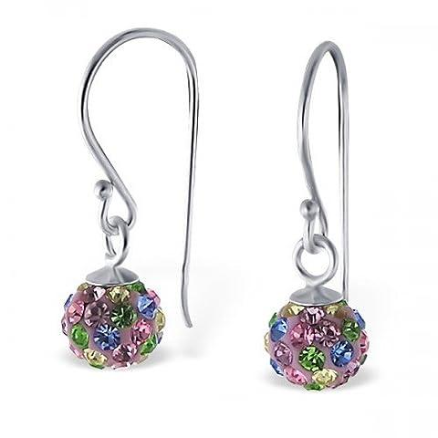 Boule de cristal–1–Boucles d'Oreilles en Argent Sterling