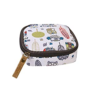 Albeey waterproof sanitary napkin cosmetic storage bag purse with zipper (white owl)