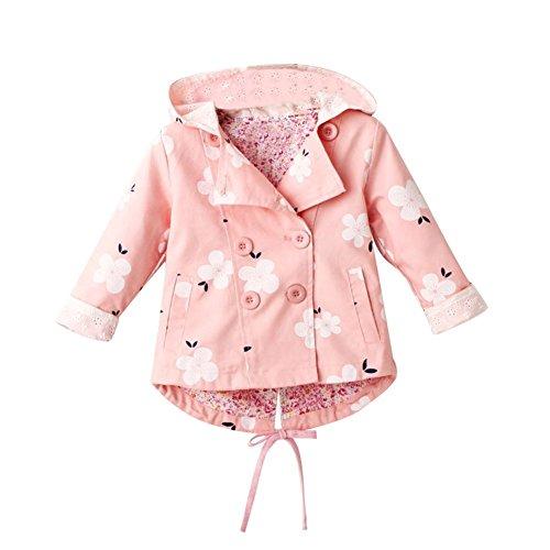 Baby Mädchen Jacke Übergangsjacke Gedruckt Kapuzenjacke Kinder Prinzessin Frühling Herbst Outwear Rosa 120 - Mädchen Kapuzenjacke Jacke