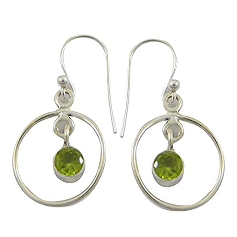 925 Sterling Silver Peridot Stone Indian Fashion Dangle Earring Jewellery Gift For Her