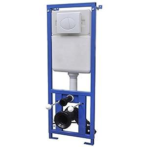 Festnight Cisterna Alta Oculta 11L – Color de Blanco y Azul Material de Acero y HDPE, 41x14x (110-125) cm
