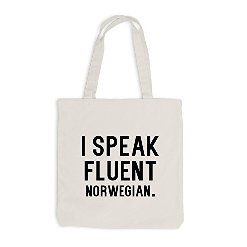 Norwegian Norwegisch Jutebeutel Beige speak I fluent Sprache zqRwBUpR