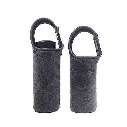 Große Kapazität Wasser Flaschenhülle Neopren Flanell Bezug Halter, 2Stück, grau, 400-500ml