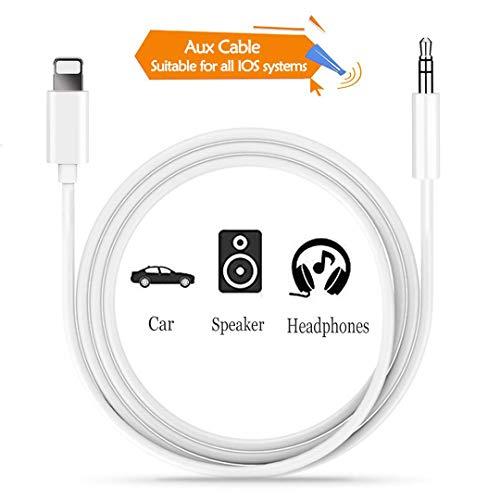 DAEETO Auto AUX Kabel für iPhone zu 3,5 mm Auto AUX-Kabel Kopfhörer-Adapter kompatibel für iPhone XS/XS Max/X / 8/8 Plus / 7 / 7Plus iPod iPad,Kopfhörer, Stereo,Lautsprecher (Weiß-1m)